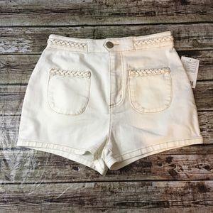 BDG High Waisted Braided Waist Denim Shorts